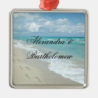 Tropical Beach Scene Personalized Keepsake Silver-Colored Square Ornament