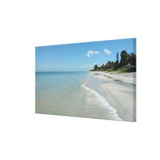 Tropical Beach Scene Stretched Canvas Print