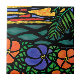 Tropical Beach Scene Tile