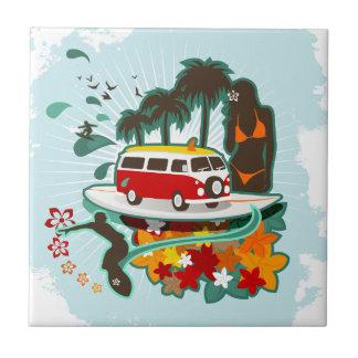 Tropical Beach Scene Tile
