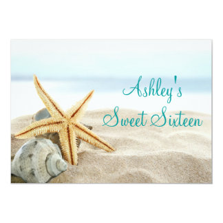 "Tropical Beach Sea Shell Sweet Sixteen Invitation. 5"" X 7"" Invitation Card"