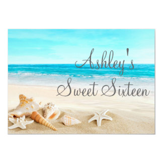 Tropical Beach Sea Shell Sweet Sixteen Invitation. Card