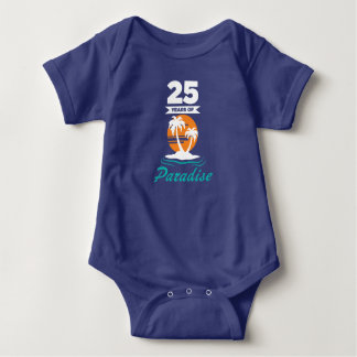 Tropical Beach Silver 25th Wedding Anniversary Baby Bodysuit