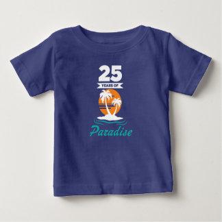 Tropical Beach Silver 25th Wedding Anniversary Baby T-Shirt
