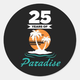 Tropical Beach Silver 25th Wedding Anniversary Classic Round Sticker