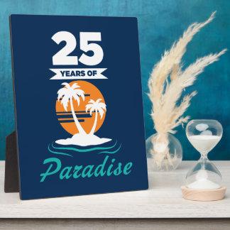 Tropical Beach Silver 25th Wedding Anniversary Plaque