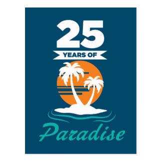 Tropical Beach Silver 25th Wedding Anniversary Postcard