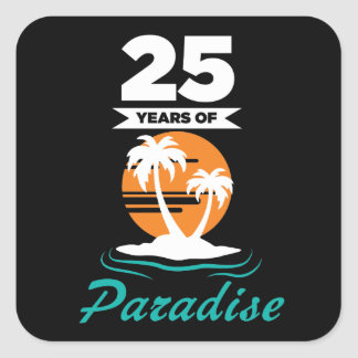 Tropical Beach Silver 25th Wedding Anniversary Square Sticker