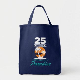 Tropical Beach Silver 25th Wedding Anniversary Tote Bag