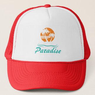 Tropical Beach Silver 25th Wedding Anniversary Trucker Hat