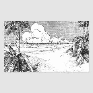 Tropical Beach South Wind Vintage Etching Sticker