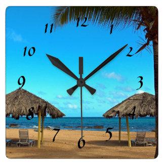 Tropical Beach Square Wall Clock
