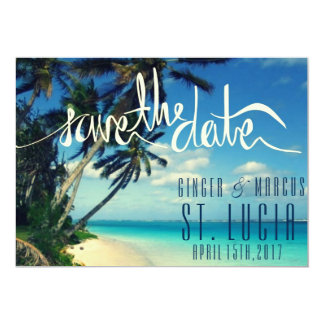 "Tropical Beach St. Lucia Wedding Save the Date 5"" X 7"" Invitation Card"
