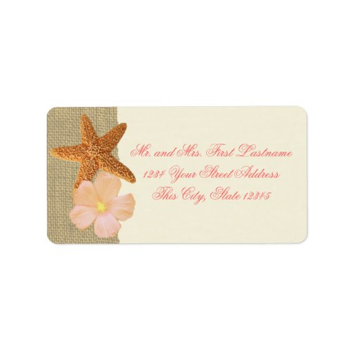 Tropical Beach Starfish and Hibiscus Custom Address Labels