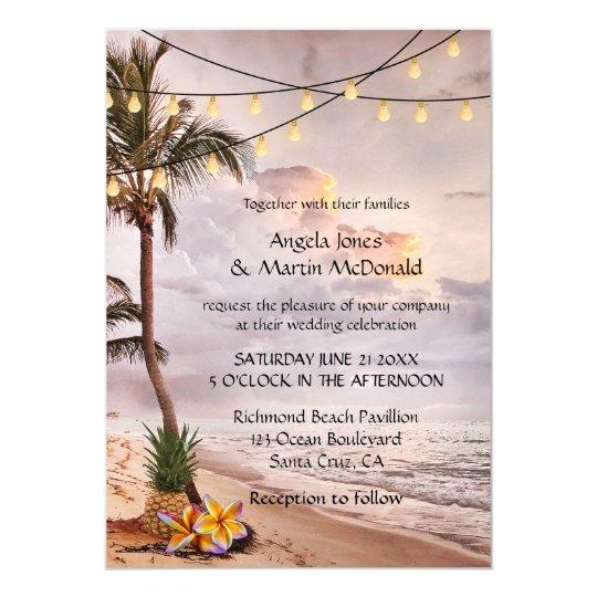 Tropical Beach String Lights Wedding Invitation