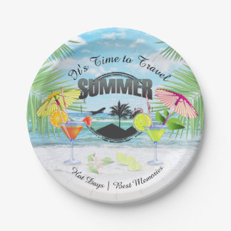 Tropical Beach, Summer Vacation | Personalized 7 Inch Paper Plate