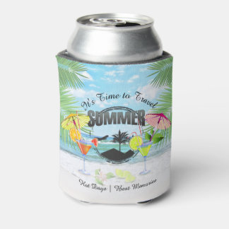Tropical Beach, Summer Vacation   Personalized Can Cooler