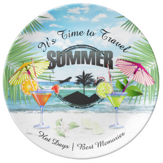 Tropical Beach, Summer Vacation | Personalized Porcelain Plate