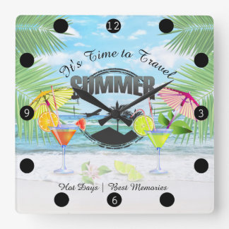 Tropical Beach, Summer Vacation | Personalized Square Wall Clock