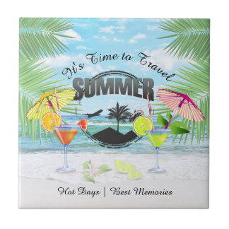 Tropical Beach, Summer Vacation   Personalized Tile