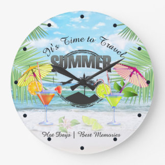 Tropical Beach, Summer Vacation | Personalized Wallclock