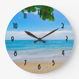 Tropical Beach Sun Sand and Sea Large Clock