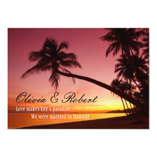 Tropical Beach Sunset Palm Trees Wedding Reception Card