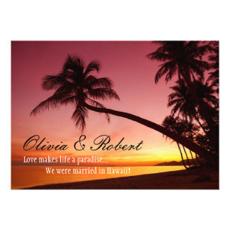 Tropical Beach Sunset Palm Trees Wedding Reception Personalized Invitation