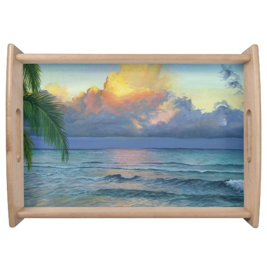 Tropical Beach Sunset Serving Tray