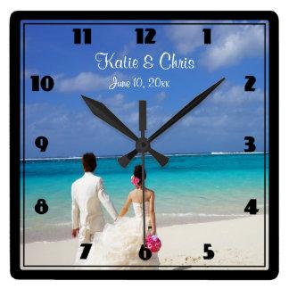 Tropical Beach Themed Wedding Couple Square Wall Clock