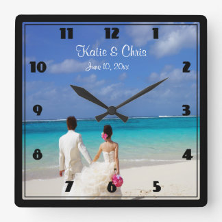 Tropical Beach Themed Wedding Couple Wall Clocks