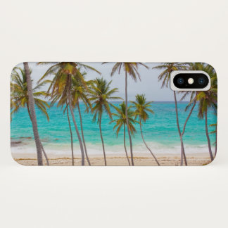 Tropical Beach Turquoise Water and Palm Trees iPhone X Case