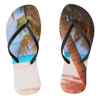 Tropical Beach View - Flip Flops