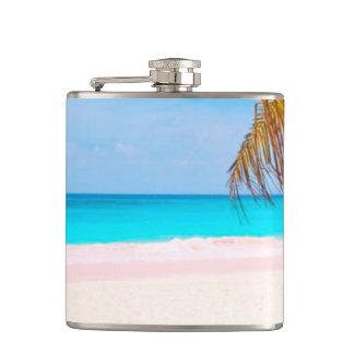 Tropical Beach View Hip Flask