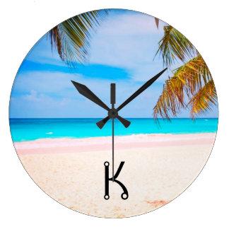 Tropical Beach View Large Clock