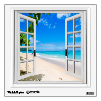 Tropical Beach View Mural Fake Window Wall Sticker