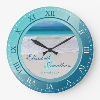 Tropical Beach Wedding Anniversary Turquoise Blue Wallclocks