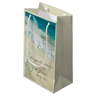 Tropical Beach Wedding Congratulations Small Gift Bag