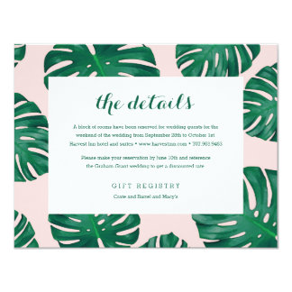 Tropical Beach Wedding Details Card