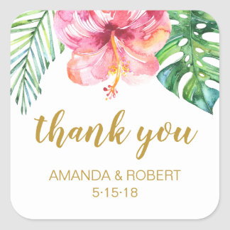 Tropical Beach Wedding Favour Sticker