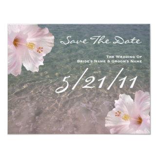 Tropical Beach Wedding Hibiscus Save The Date Card