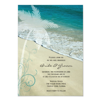 "Tropical Beach Wedding Invitation 5"" X 7"" Invitation Card"