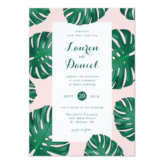 "Tropical Beach Wedding Invitation | 5"" x 7"""
