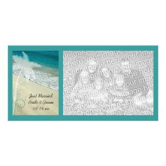 Tropical Beach Wedding Just Married Card