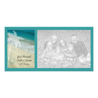 Tropical Beach Wedding Just Married Photo Card