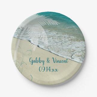 Tropical Beach Wedding Paper Plate