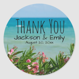 Tropical Beach Wedding Personalized Thank You Classic Round Sticker