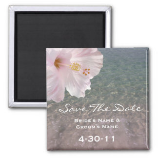 Tropical Beach Wedding Save The Date - Hibiscus Magnet