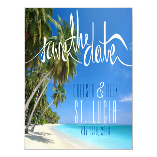 Tropical Beach Wedding Save the Date Magnet Magnetic Invitations