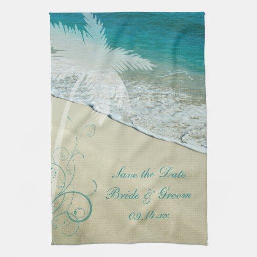 Beach Blanket Date: Tropical Beach Wedding Save The Date Towel